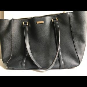 Kate Spade Black Satchel Bag With Gold Logo Plate